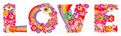 Psychedelic Hippie Love Lettering Sticker
