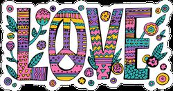 Psychedelic Hippie Love Sticker
