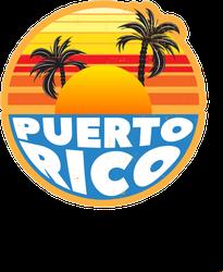 Puerto Rico Sunset Palm Tree Sticker