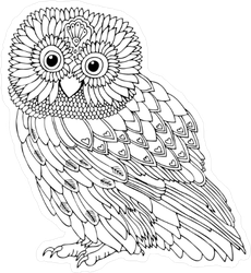 Puffy Owl Sketch Sticker