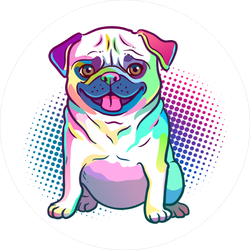 Pug Dog Pop Art Style Illustration Sticker