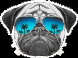 Pug Dog With Mirror Sunglasses Sticker