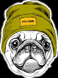 Pug In A Snow Hat Sticker