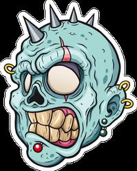 Punk Cartoon Zombie Head Sticker