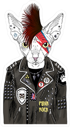 Punk Sphinx Cat Sticker