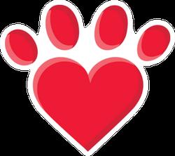 Puppy Love Heart Paw Print Sticker
