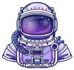 Purple Astronaut In Space Suit Sticker