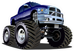 Purple Cartoon Monster Truck Sticker