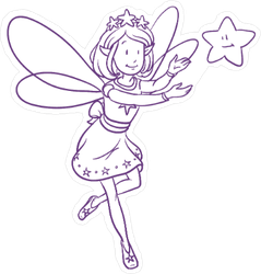 Purple Fairy and Star Sticker