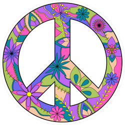 Purple Floral Peace Sign Sticker