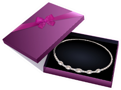 Purple Gift Box With A Pearl Necklace Isolated On White Sticker