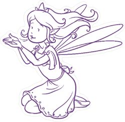 Purple Outline Fairy Sticker