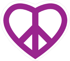 Purple Peace Sign Heart Sticker