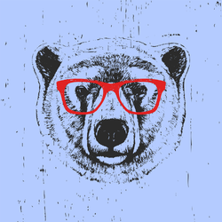 Purple Polar Bear With Glasses Sticker