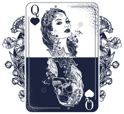 Queen Playing Card Art Illustration Sticker