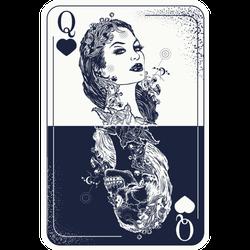 Queen Playing Card Tattoo Sticker