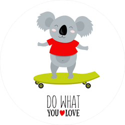 Quote Do What You Love Koala Skateboard Sticker