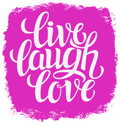 Quote 'live Laugh Love' On Bright Pink Sticker