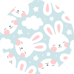 Rabbit And Cloud Seamless Pattern Sticker