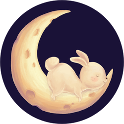 Rabbit Sleep On Moon Sticker