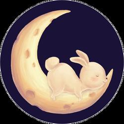 Rabbit Sleep On Moon Sticker