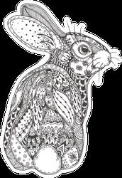 Rabbit With Ethnic Floral Design Sticker