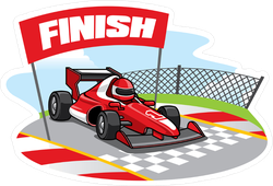 Racing Car Reaching The Finish Line Sticker