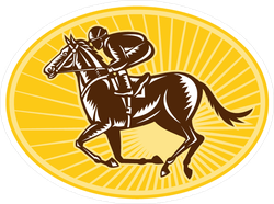 Racing Horse And Jockey Oval Sticker