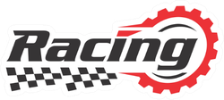 Racing Logo With Flag and Lettering Sticker