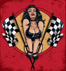 Racing Pinup Holding Checkered Flags Sticker