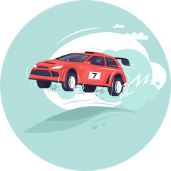 Racing Rally Car Jumping Sticker