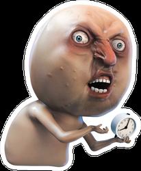 Rage Face With Clock Meme Sticker