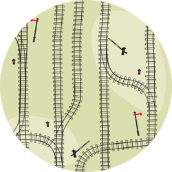 Railroad Pattern With Tracks On Green Sticker
