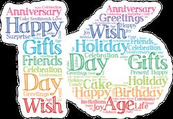 Rainbow 16th Birthday Sticker