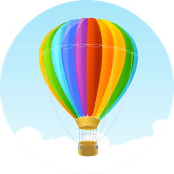 Rainbow Air Ballon Cloud Background Sticker