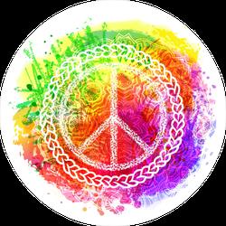 Rainbow Background Hippie Peace Sign Sticker
