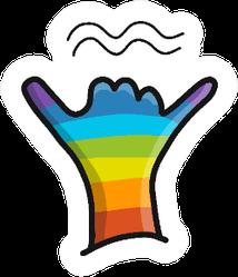 Rainbow Cartoon Shaka Hand Sticker