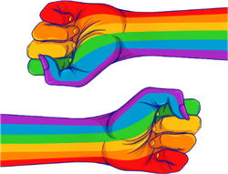 Rainbow Colored Fist Sticker