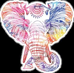 Rainbow Elephant Head Sketch Sticker