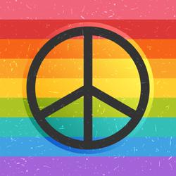 Rainbow Grunge Peace Sign Sticker