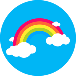 Rainbow In Blue Sky With Clouds Sticker