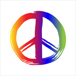 Rainbow Painted Peace Sign Sticker