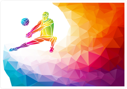 Rainbow Polygon Bumping Volleyball Player Sticker