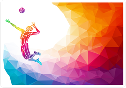 Rainbow Polygon Soaring Volleyball Player Sticker
