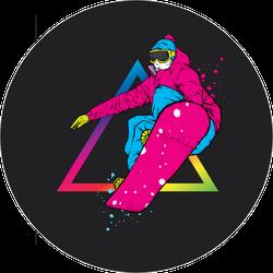 Rainbow Snowboarder Triangle Sticker