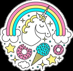 Rainbow Unicorn And Treats Circle Sticker