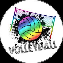 Rainbow Volleyball And Net Sticker