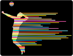 Rainbow Volleyball Player Sticker