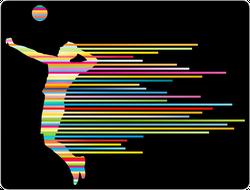 Rainbow Volleyball Player Sticker
