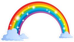 Rainbow With Clouds And Stars Sticker